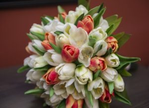 orange and white silk tulip bouquet