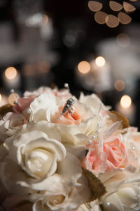pastel silk roses bokeh wedding bouquet