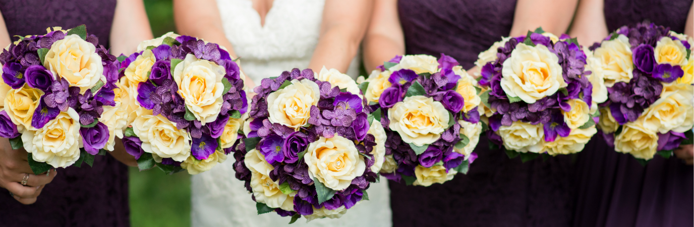 purple-and-yellow-bouquets