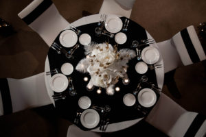 black and white linens centerpiece table