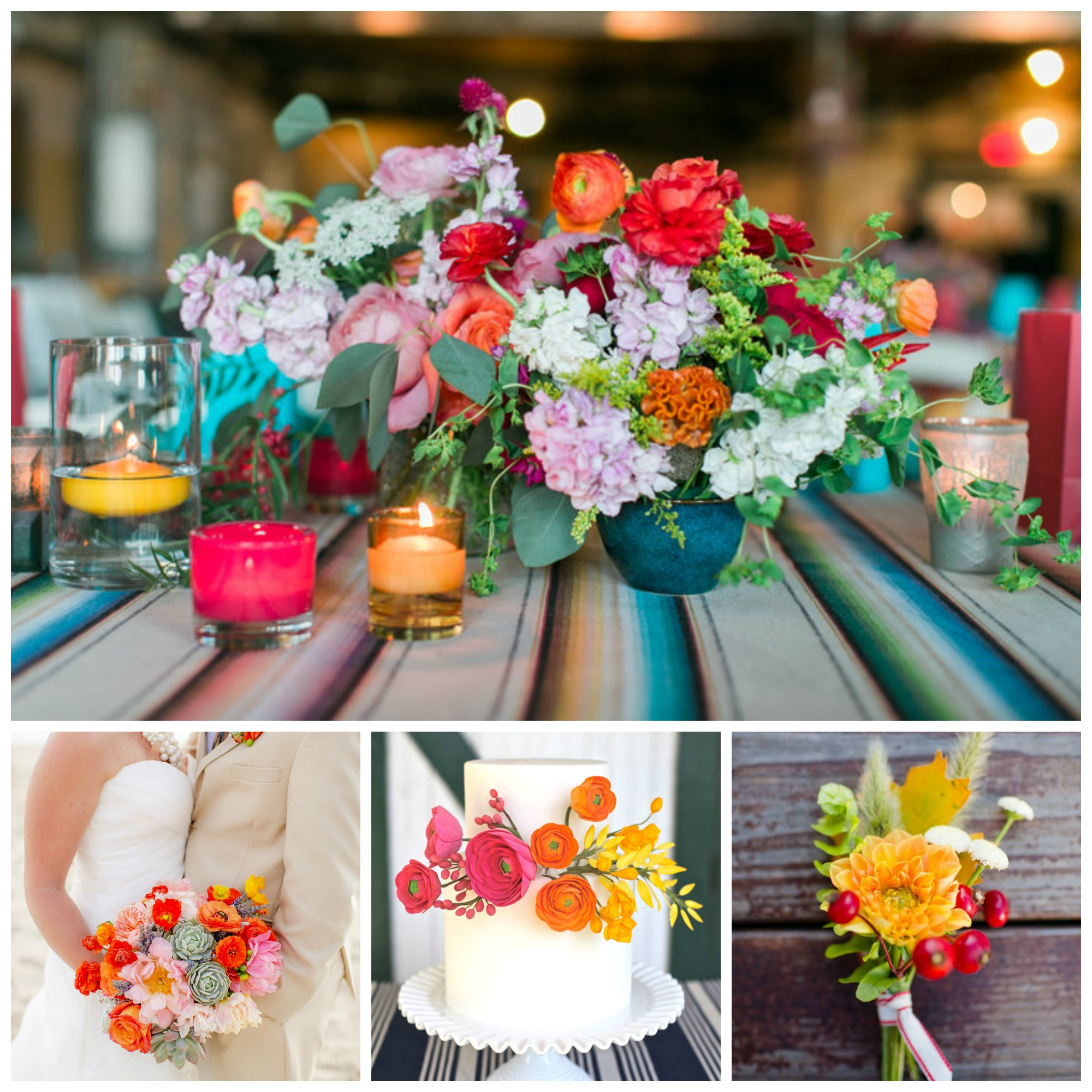 colorful wedding centerpieces collage