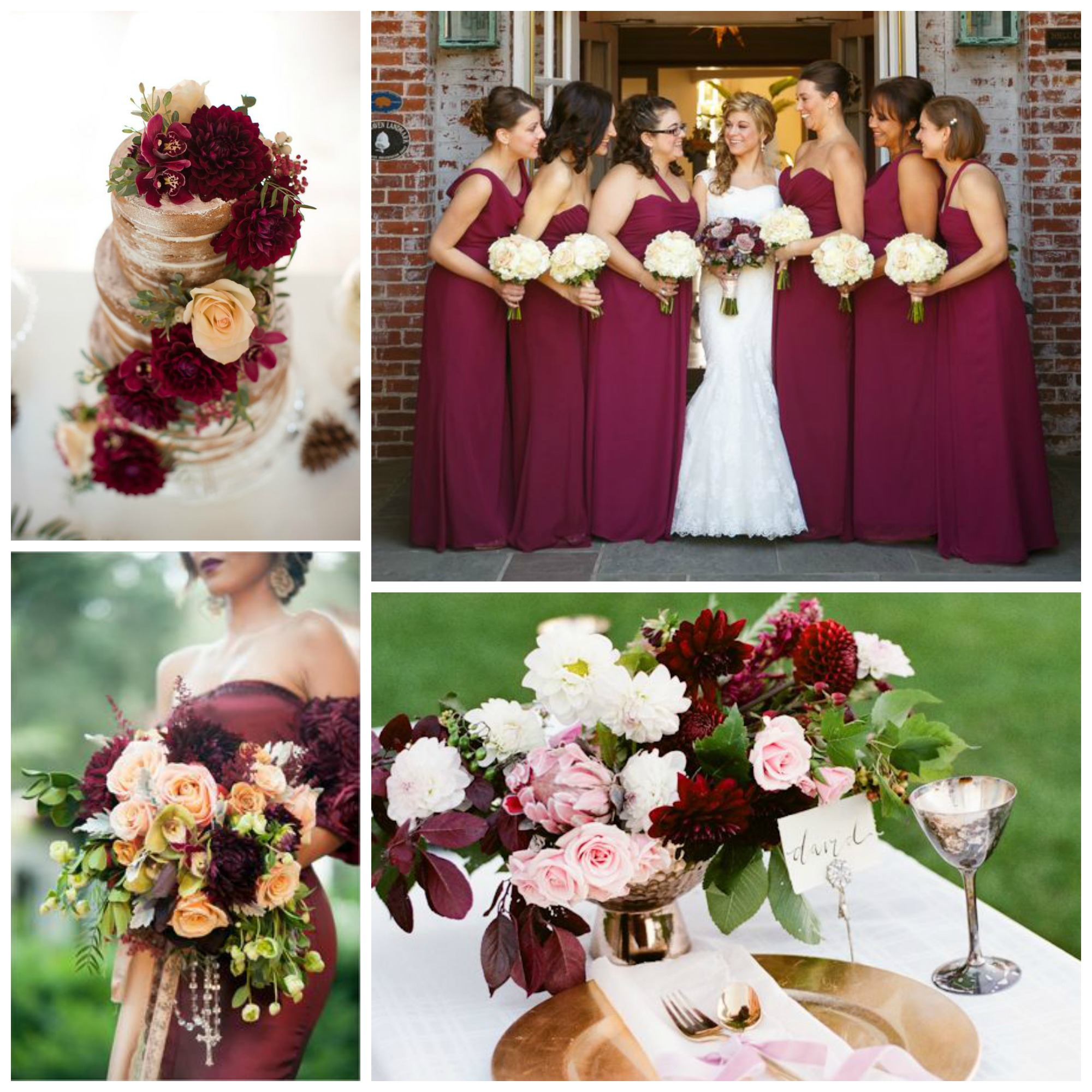 marsala wine gold wedding flowers collage