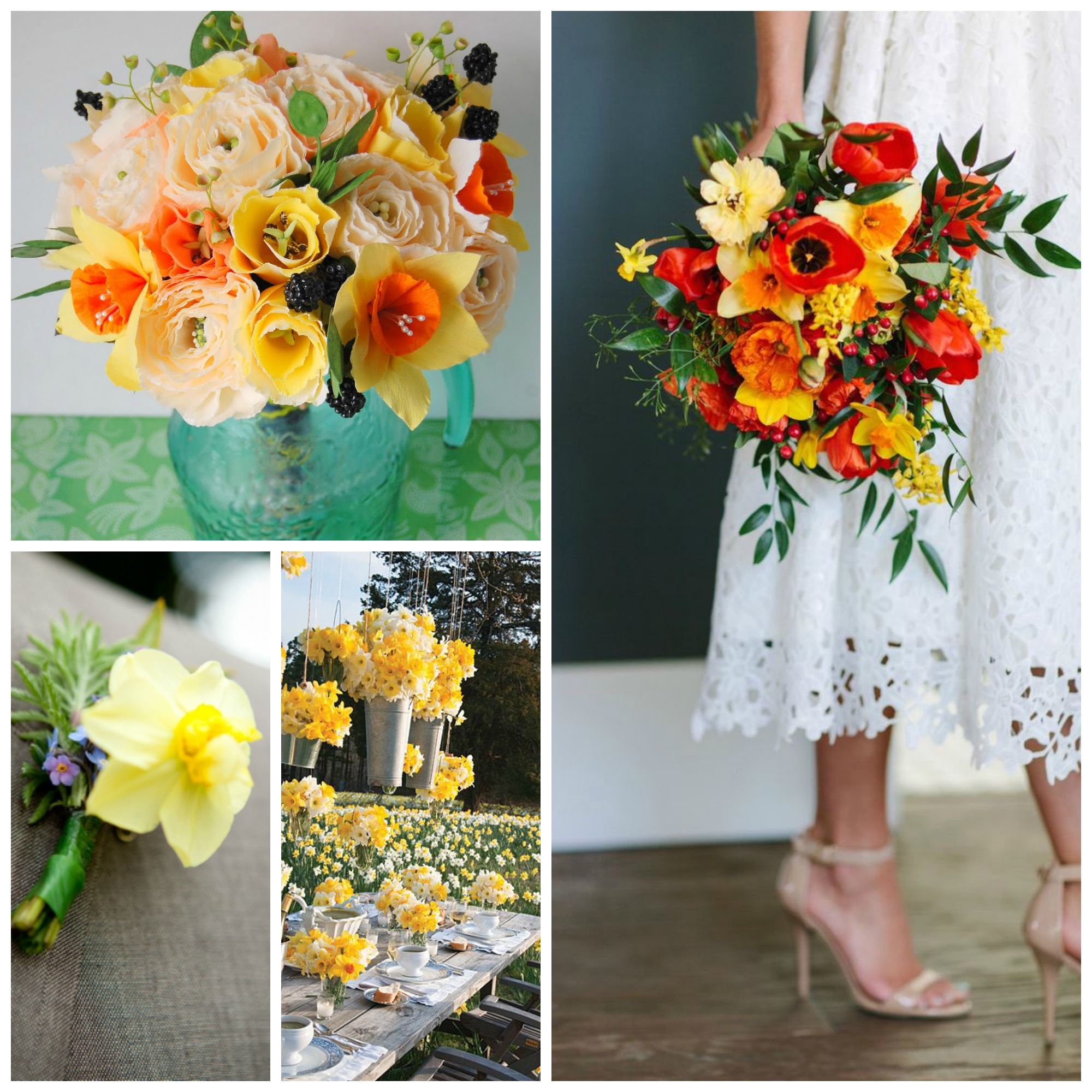 orange and yellow flowers roses poppies wedding bouquet