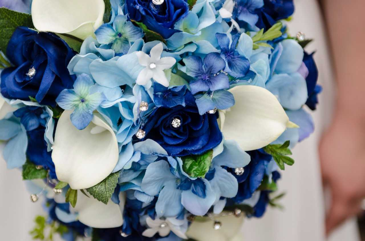 brides wedding bouquet of blue roses hydrangeascalla lilies