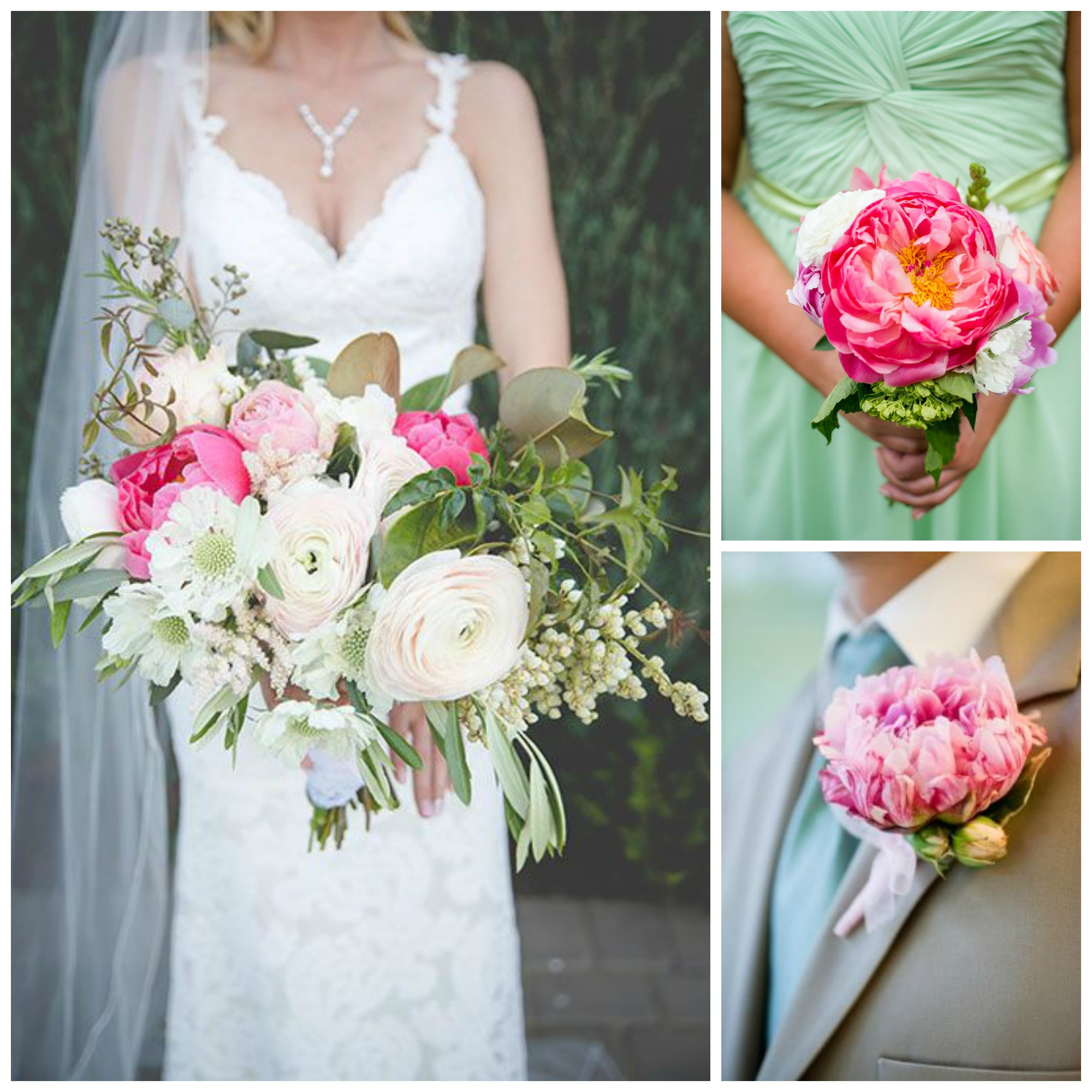 pink peonies wedding bouquets and boutonniere