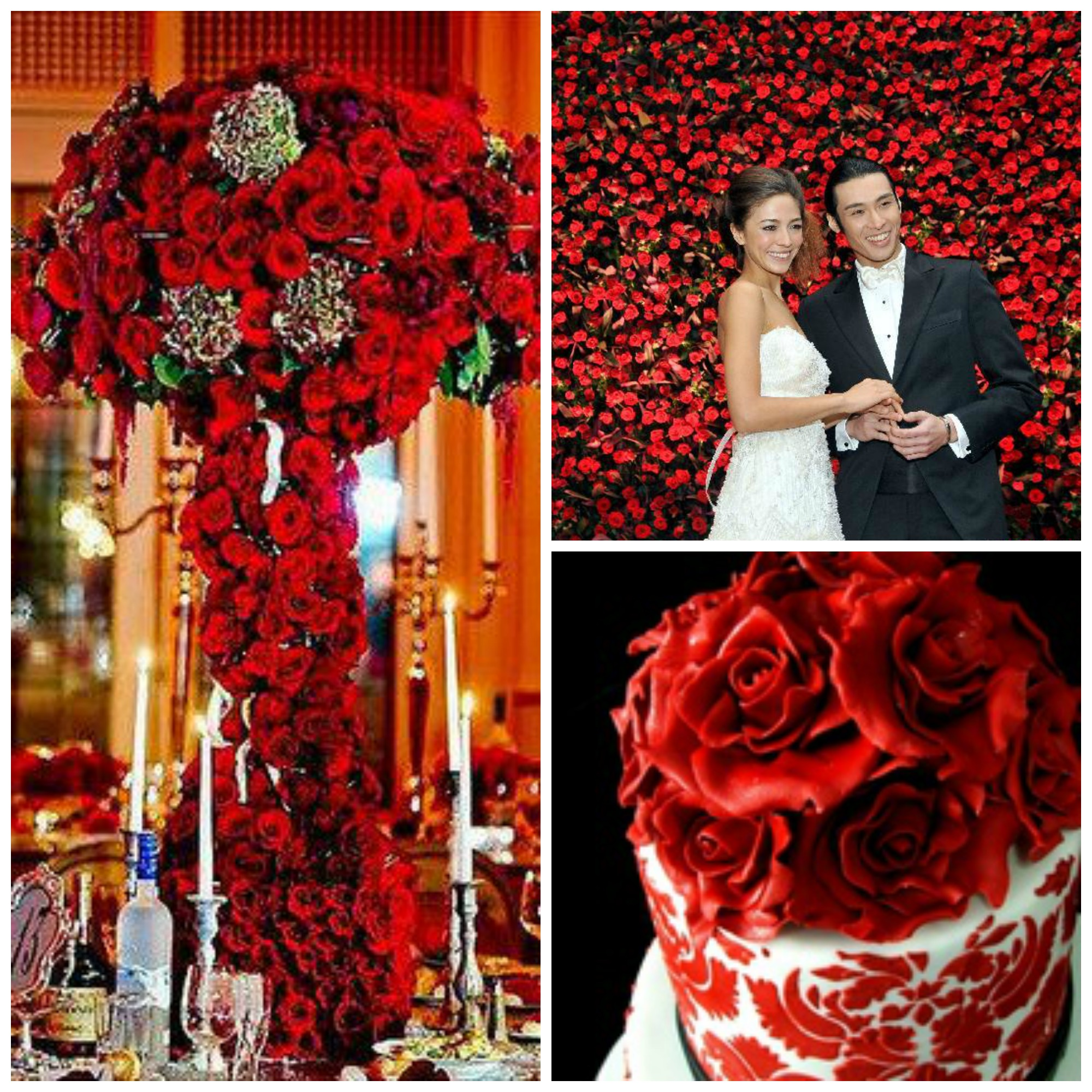 collage of red rose reception decor and cake