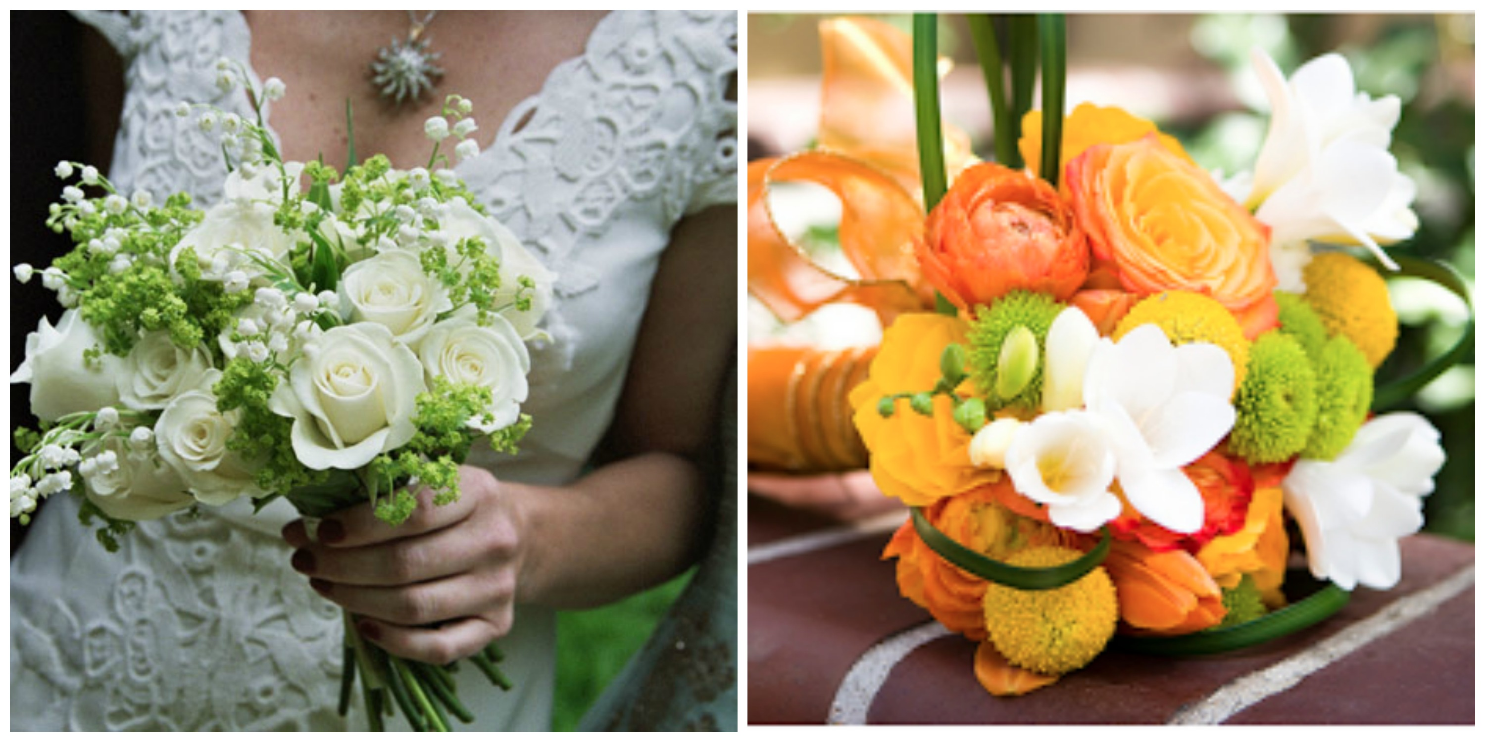 bridal bouquets white roses and orange blossoms