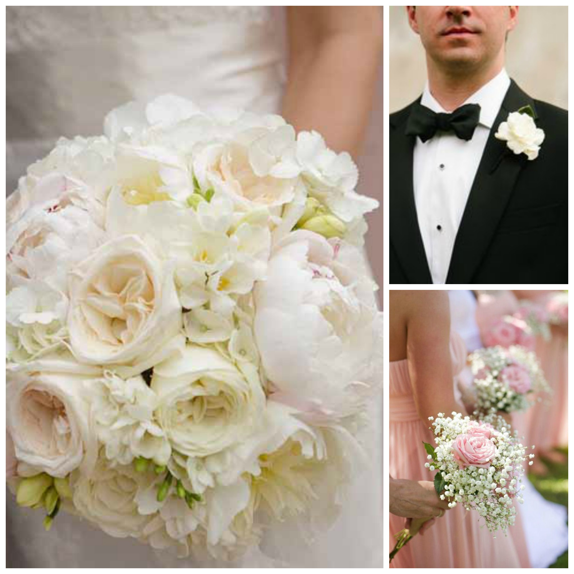 gardenia bouquets and boutonnieres collage pink neutral