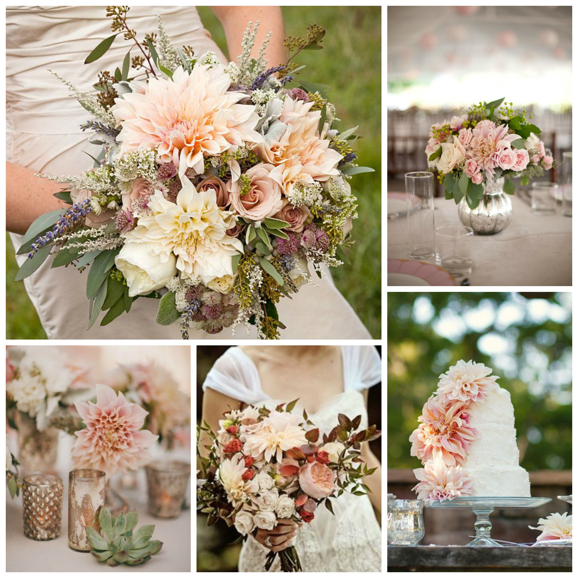 dahlias in muted colors for romantic wedding flowers