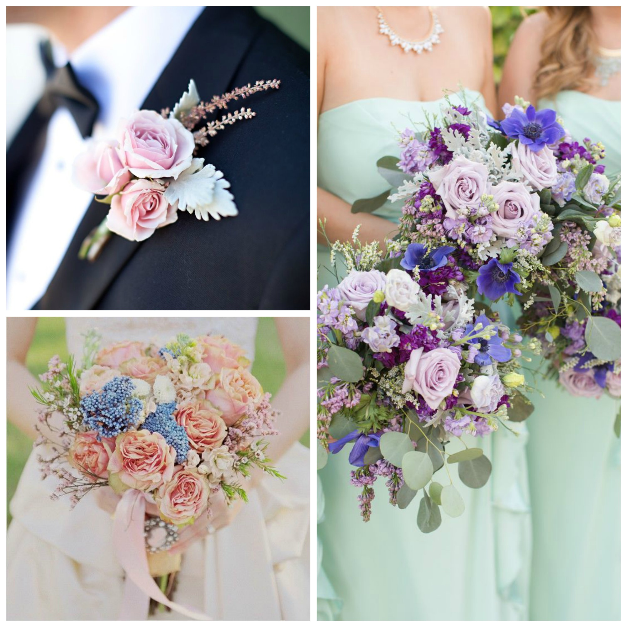 romantic wedding flowers collage in pastel colors