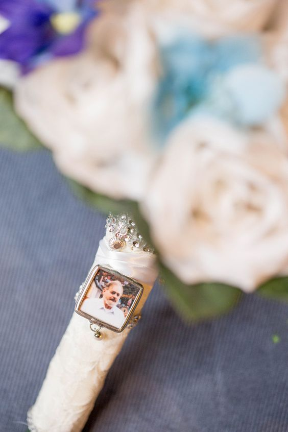 silk wedding bridal bouquet with memorial picture frame charm