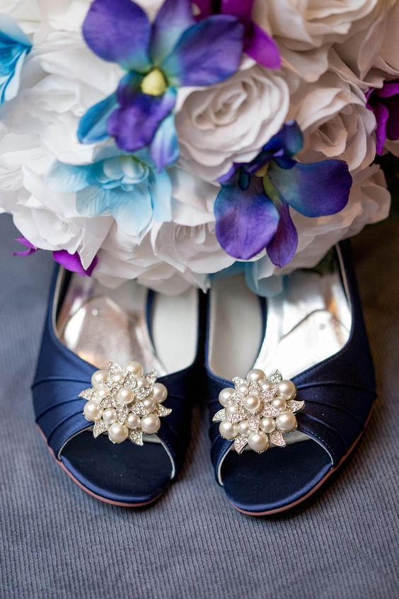 navy wedding shoes and silk wedding bouquet of white roses and blue purple orchids