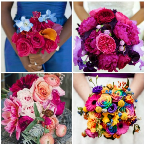 wedding bouquets collage featuring 2018 color trends