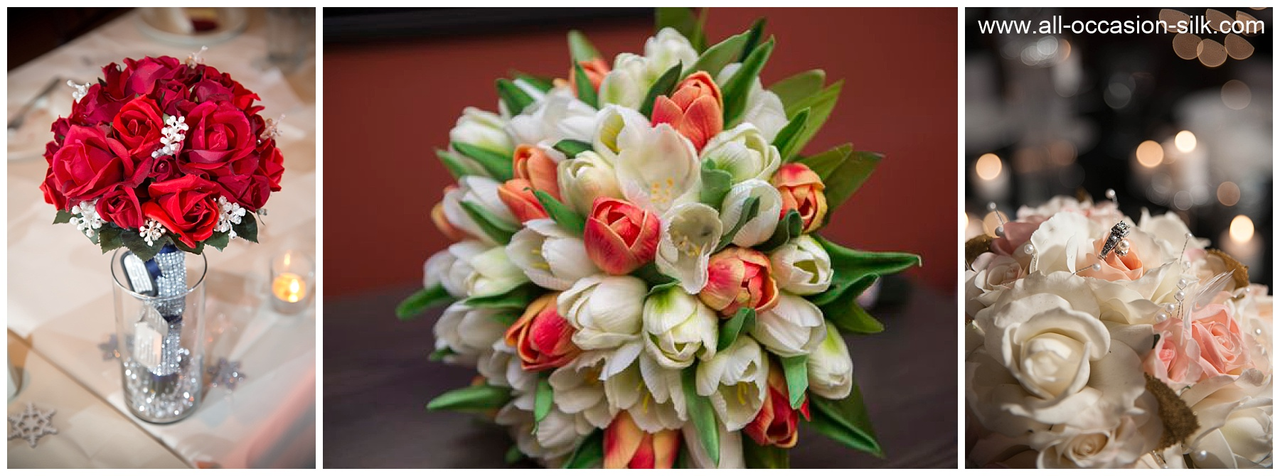real touch wedding bouquets of tulips and roses