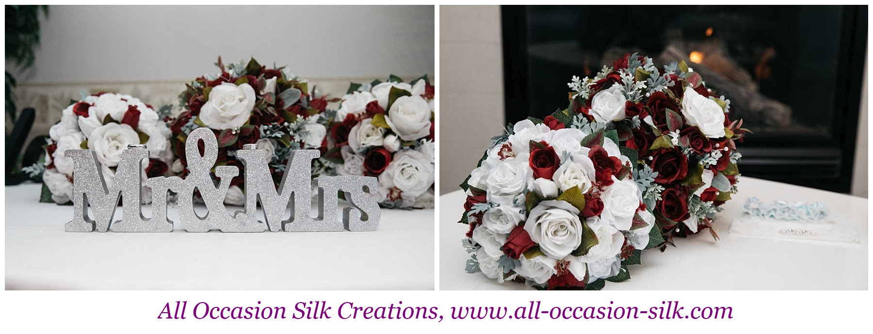 white and red silk rose bouquets on a reception table