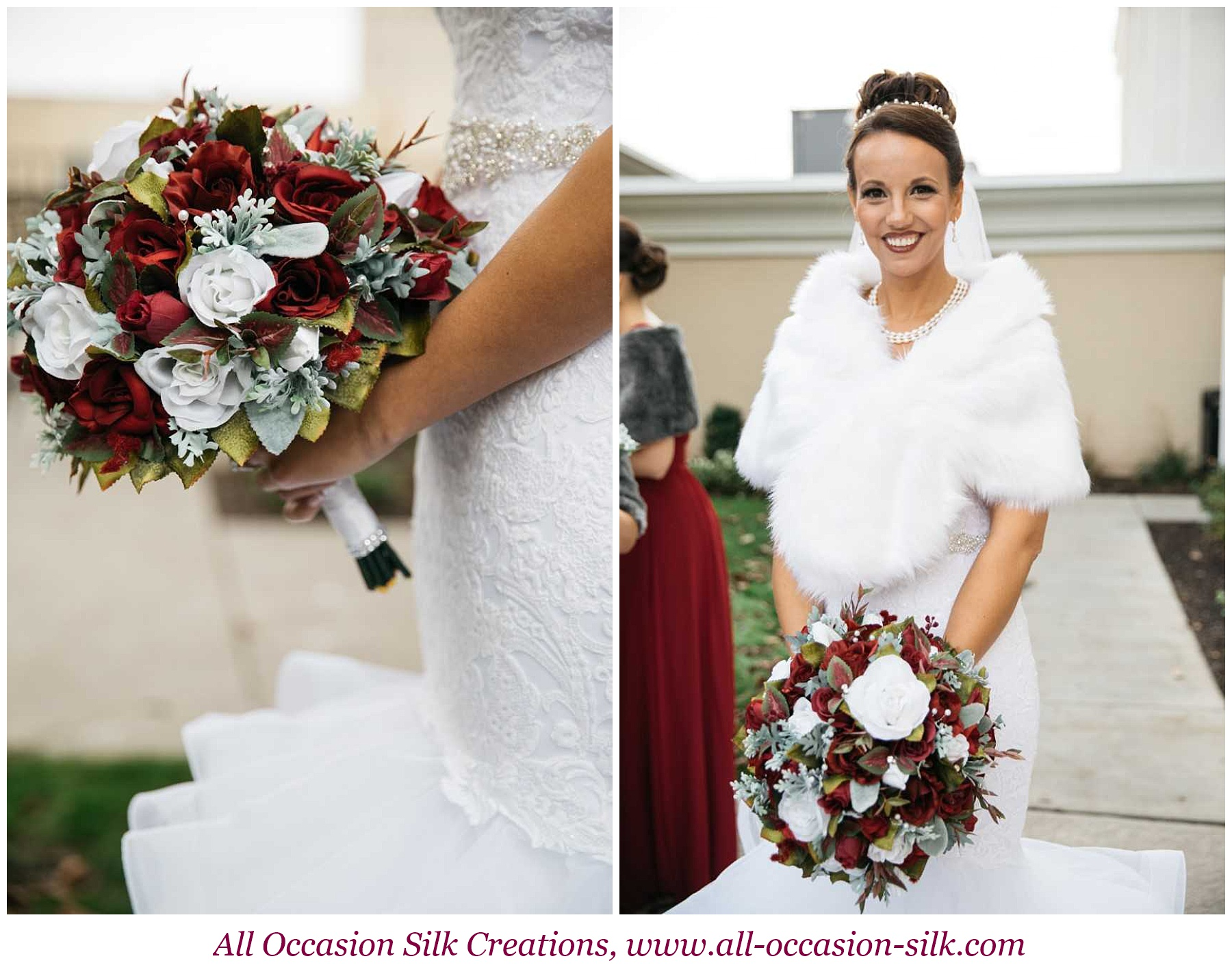 beautiful winter bride holding red and white rose bouquet