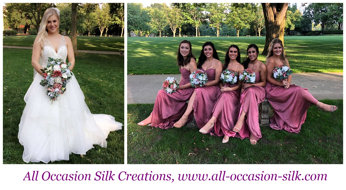 bridesmaids pose in pink with silk wedding bouquets after a Pittsburgh wedding