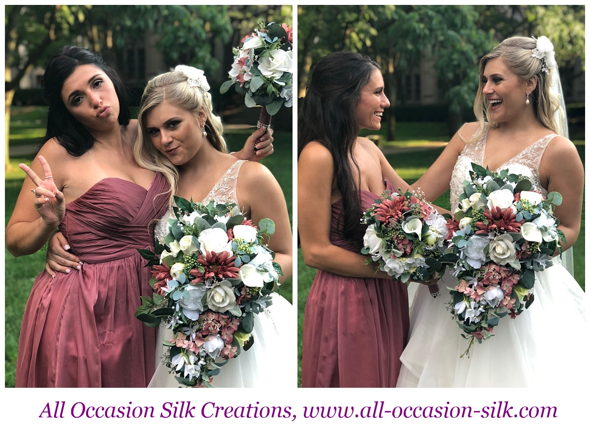 bride and bridesmaid have fun with silk pink wedding bouquets