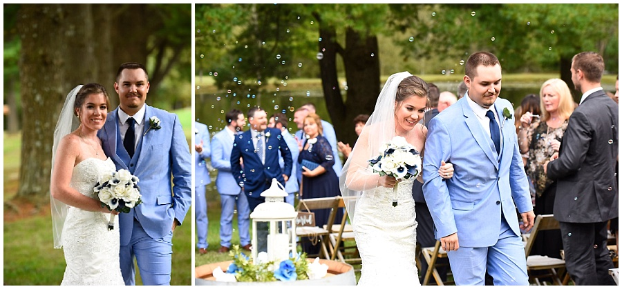 bride and groom with silk wedding bouquet walking down the aisle