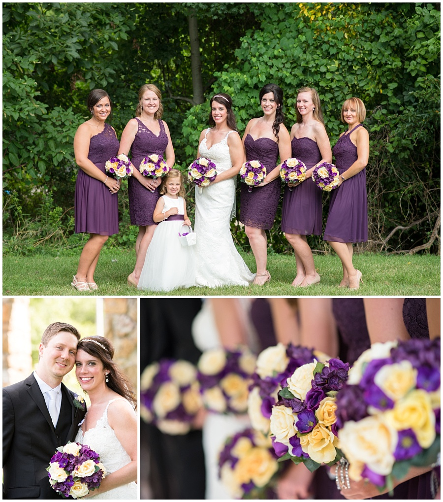 Pittsburgh wedding with purple and yellow silk flowers
