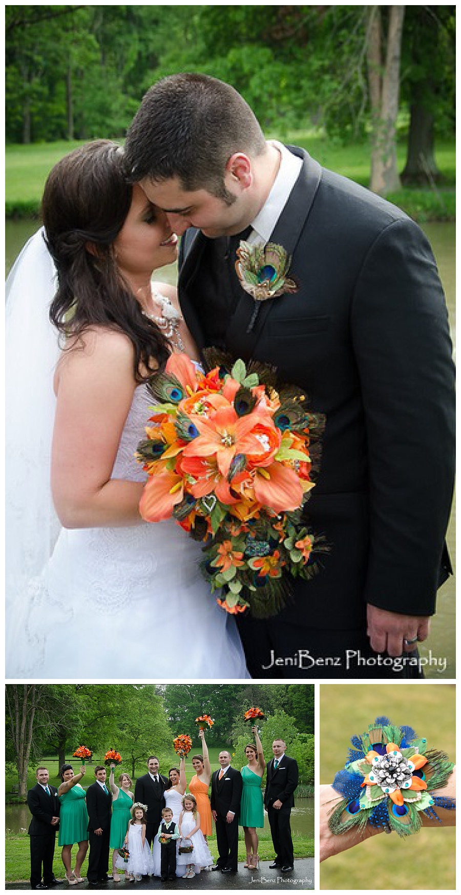 orange and green peacock wedding bouquets at South Park near Pittsburgh
